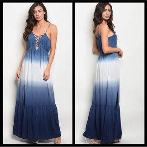 Ombré lace up maxi dress